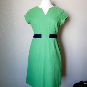 Boden Lime Green w/Navy Blue Belt Block Dress